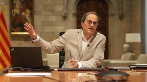 Quim Torra, en la reunión telemática con Pedro Sánchez y el resto de presidentes autonómicos del7 de junio.