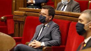 El vicepresident de la Generalitat, Pere Aragonès, durante un pleno en el Parlament