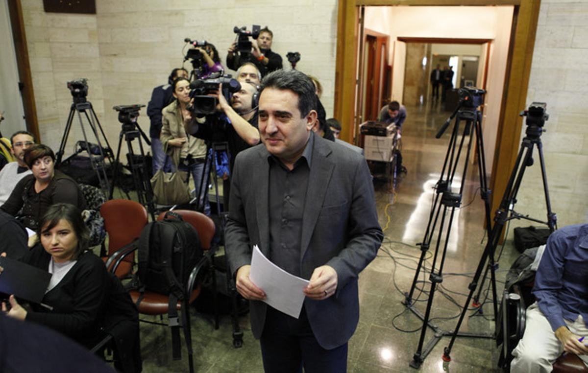 Bustos, en la comparecencia del pasado 4 de diciembre, cuando nombró alcalde accidental de Sabadell a Juan Carlos Sánchez.