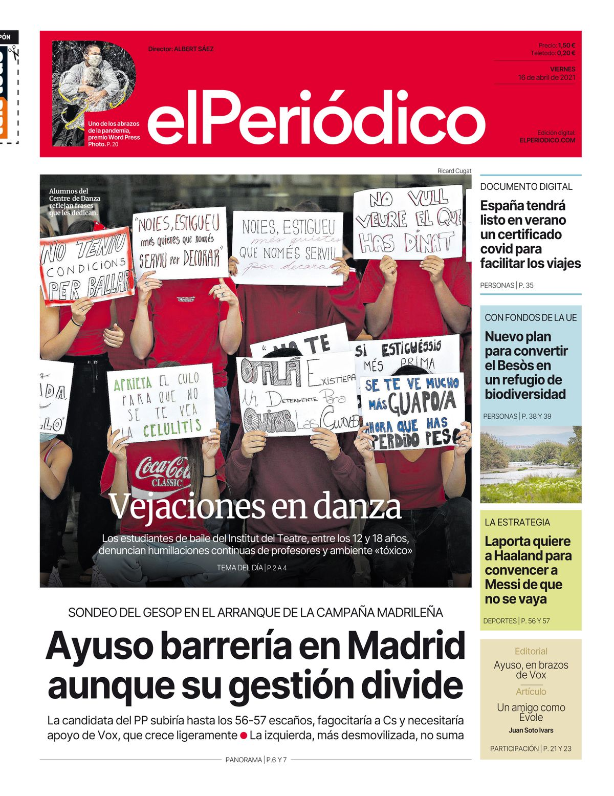 La portada de EL PERIÓDICO del 16 de abril del 2021