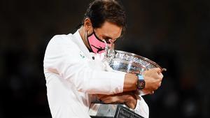 Rafael Nadal durante la entrega de premios de Roland Garros 2020