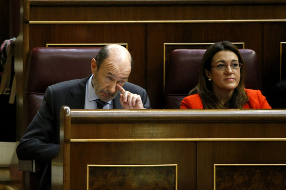 Soraya Rodríguez, junto a Alfredo Pérez Rubalcaba, en el Congreso, el pasado 19 de septiembre.