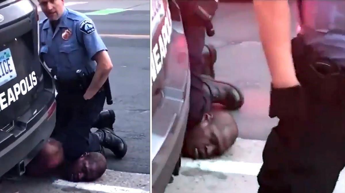 Dos momentos del vídeo en los quese puede ver cómo el policía de Minneapolis pisa el cuello deGeorge Floyd hasta dejarle inconsciente.