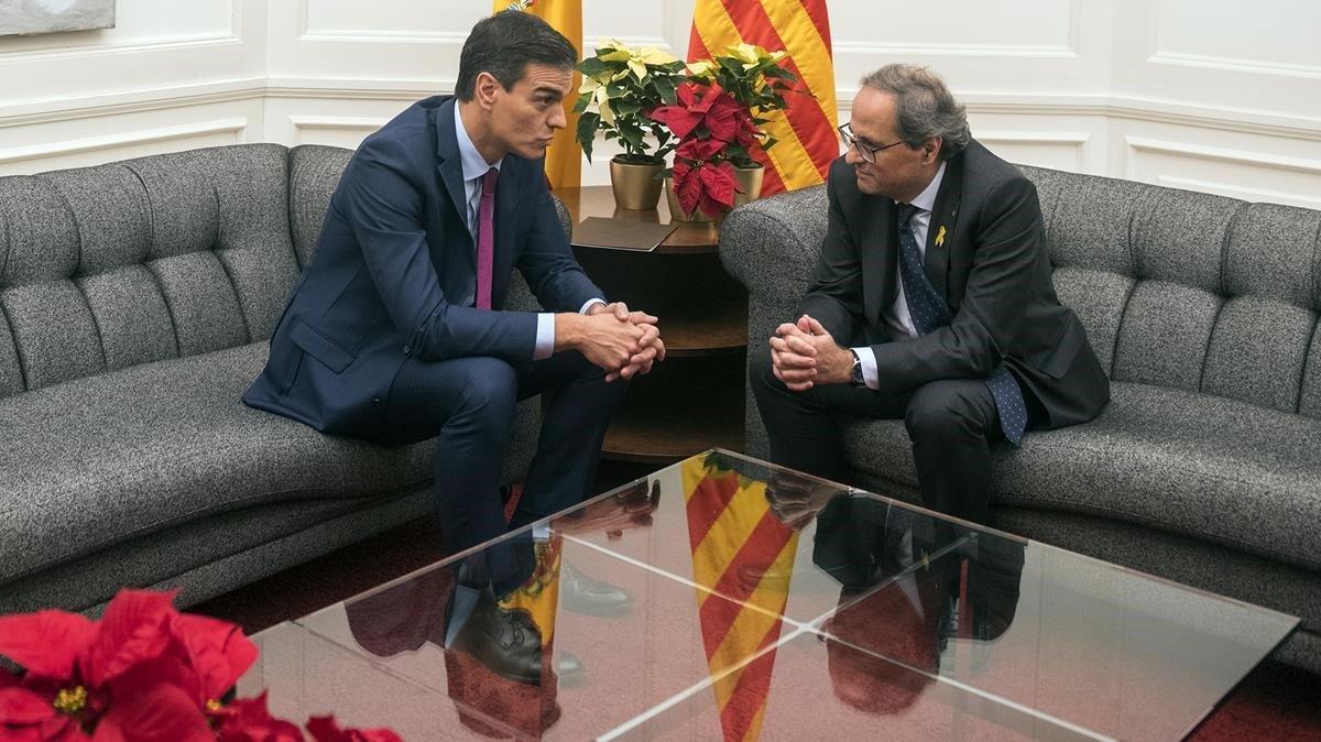 Pedro Sánchez y Quim Torra, durante su encuentro en el Palau de Pedralbes, el pasado 20 de diciembre.