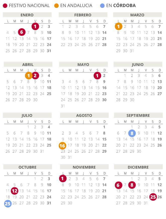 Calendario laboral de Córdoba del 2021 (con todos los festivos)