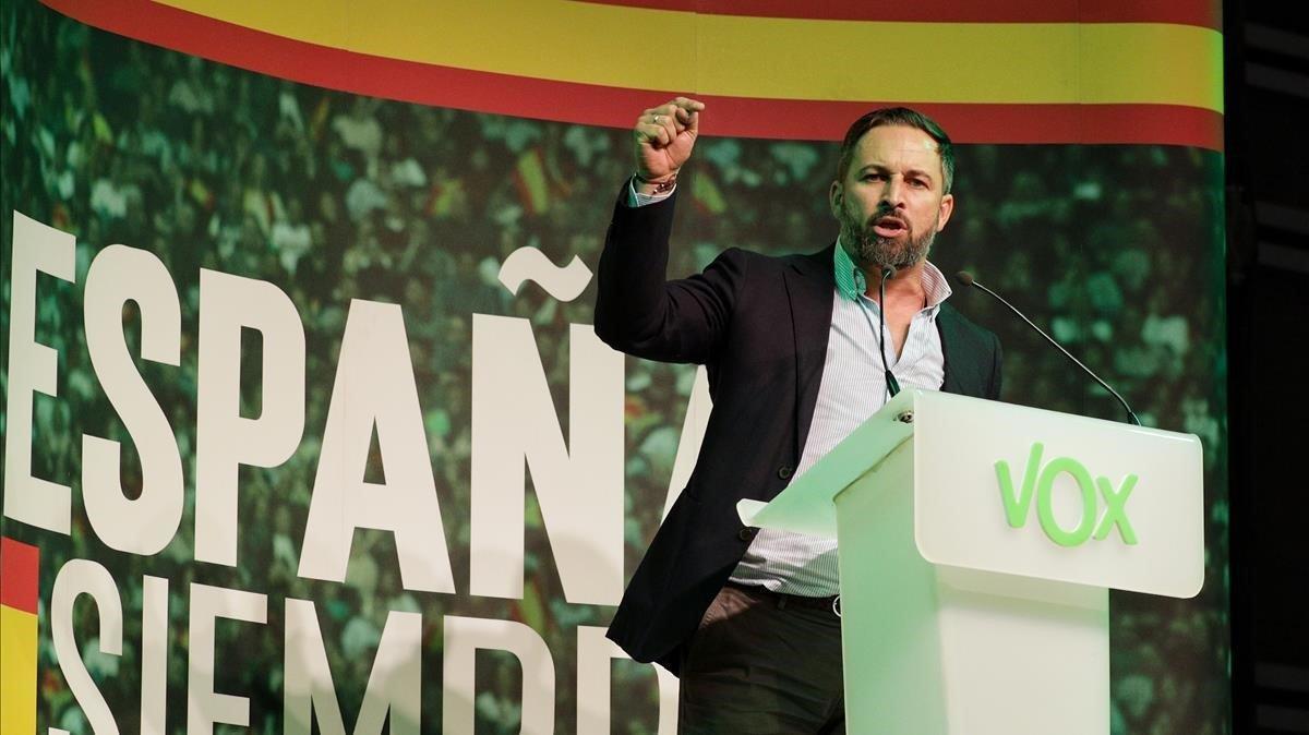 Santiago Abascal, líder de Vox, en el mitin que su formación celebró este jueves en Valencia.