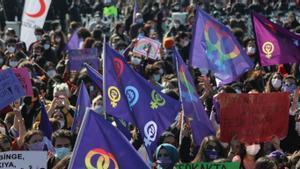 Manifestación contra la retirada de Turquía de la Convención de Estambul, el 27 de marzo en la capital turca.