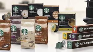 Gama de productos de Nestlé y Starbucks.