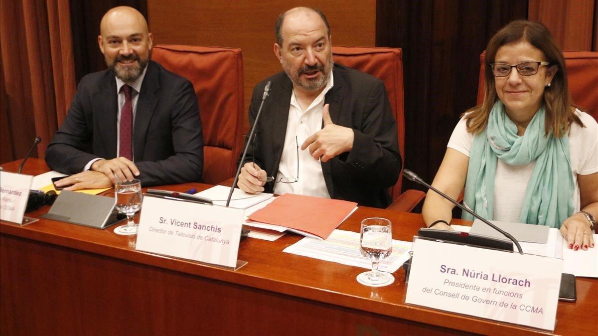 Saül Gordillo, Vicent Sanchís yNúria Llorach, en una comisión de control de la CCMA.