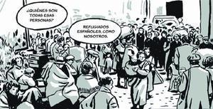 Una viñeta de 'El ángel de la retirada' muestra el éxodo de los refugiados republicanos hacia Francia.