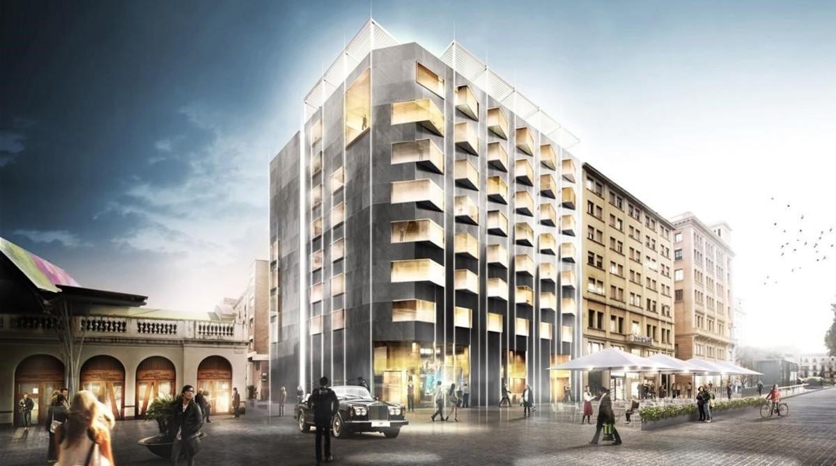 Imagen virtual del The Barcelona Edition, junto a Santa Caterina.