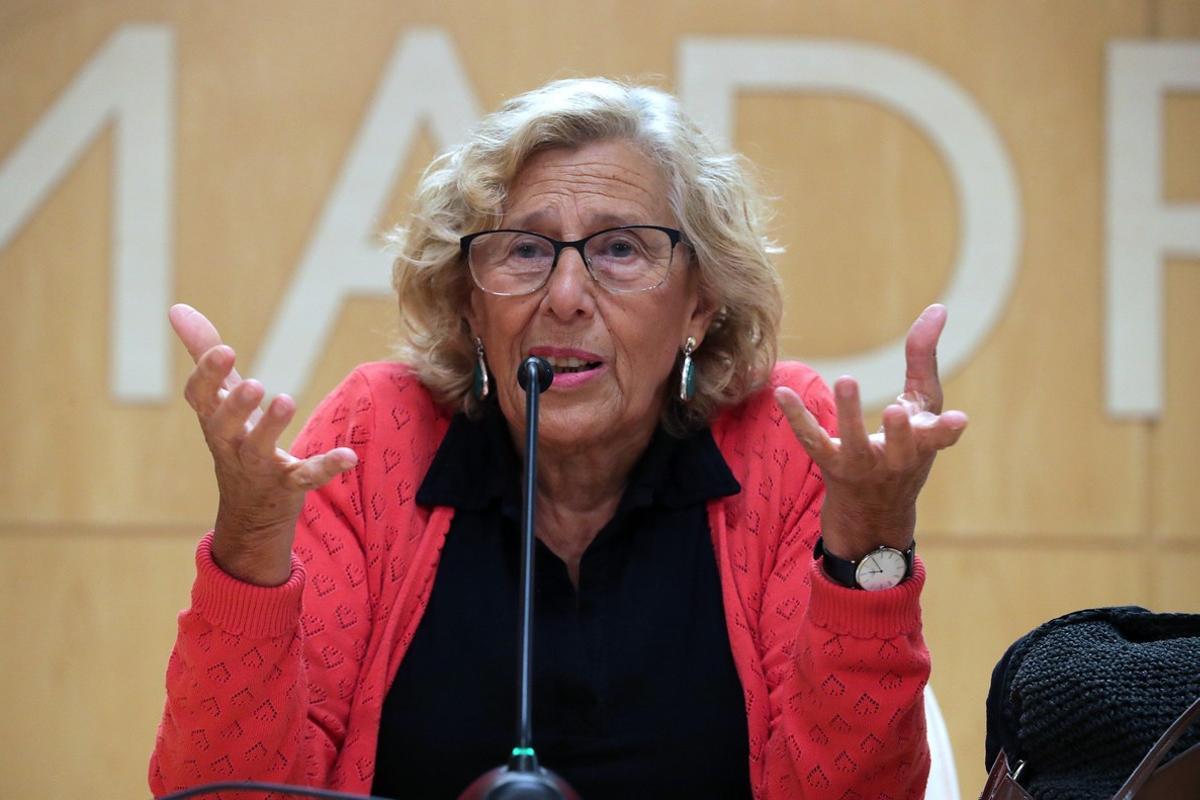 Manuela Carmena, en una rueda de prensa.