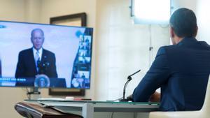 El presidente del Gobierno, Pedro Sánchez, durante su intervención en la cumbre de líderes mundiales por el clima.