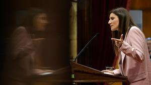 Lorena Roldán, en el Parlament durante la moción de censura contra Quim Torra.