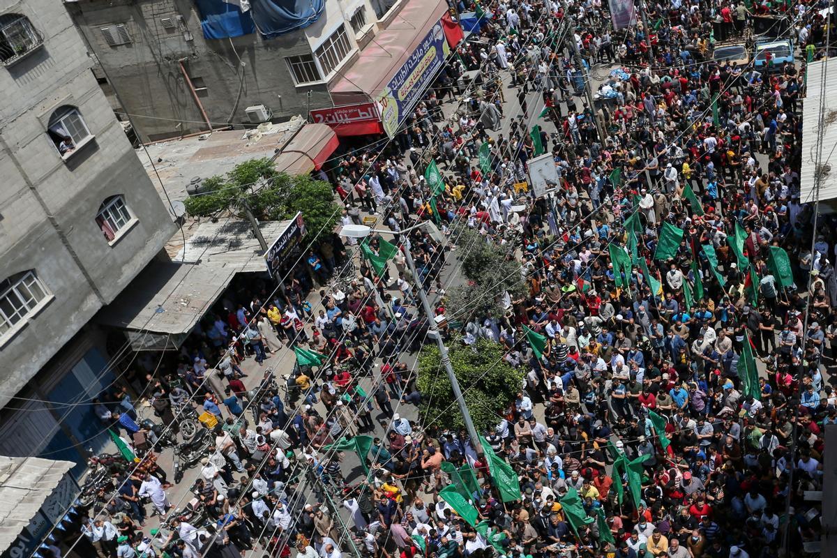 Seguidores de Hamas celebran la tregua con Israel.