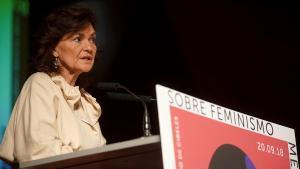 La vicepresidenta primera del Gobierno, Carmen Calvo, en un acto del 2018.
