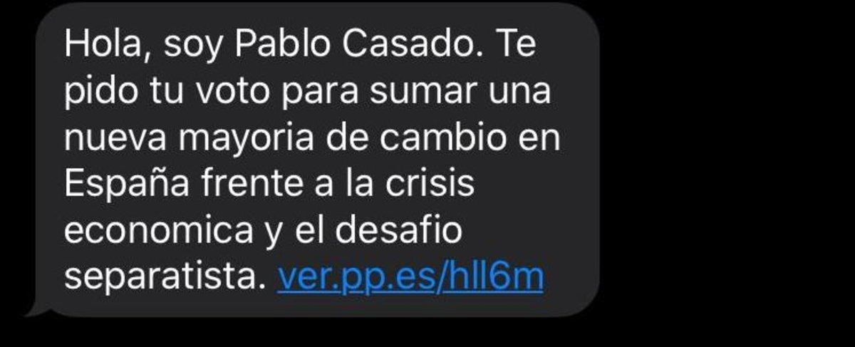 El SMS del líder del PP, Pablo Casado, en la campaña del 10-N.
