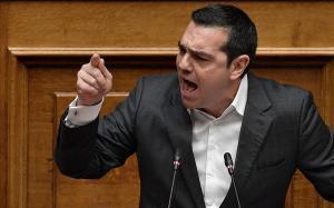Tsipras, durante su encedida alocución en el Parlamento.