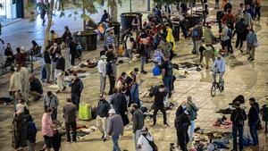 'Mercado de la vergüenza' en Sant Antoni, al atardecer.