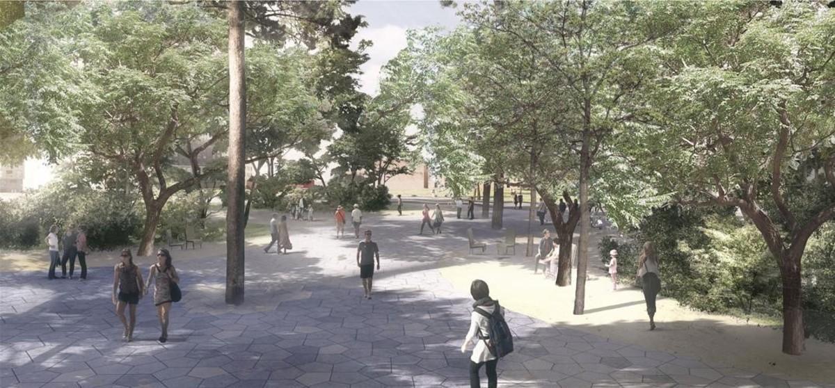 La plaza del Sud, situada junto al intercambiador de transporte público y al lado del jardín de Inmersión.