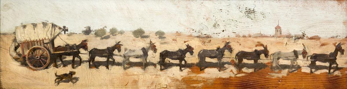Óleo sobre madera'Carro con ocho mulas de tiro', de Ramon Casas (1889).