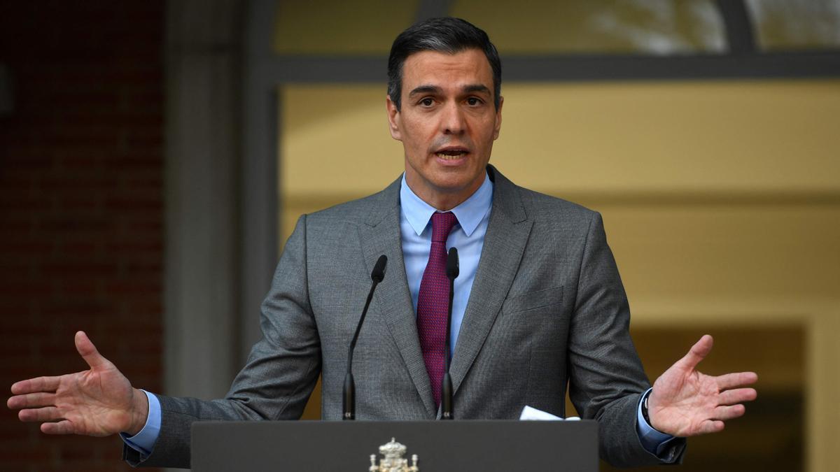 El presidente del Gobierno, Pedro Sánchez, en su breve declaración institucional, tras la aprobación de los indultos a los nueve presos del 'procés'