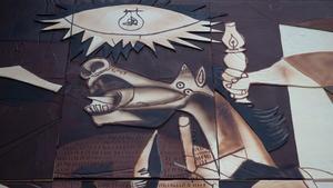Un fragmento de la recreación en chocolate del 'Guernica' de Picasso.