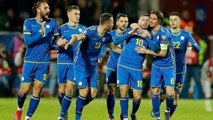 Los jugadores de la selección kosovar celebrando un gol.