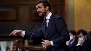 Casado anuncia que el PP abandona la sede de Génova, 13.