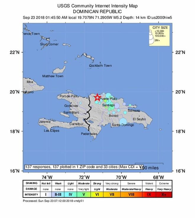Villa Elisa Dominican Republic- A handout photo made available by the US Geological Survey USGS shows a Intensity map of a 5 2 -magnitude earthquake 3km North West of Villa Elisa Dominican RepublicEFE EPA USGS