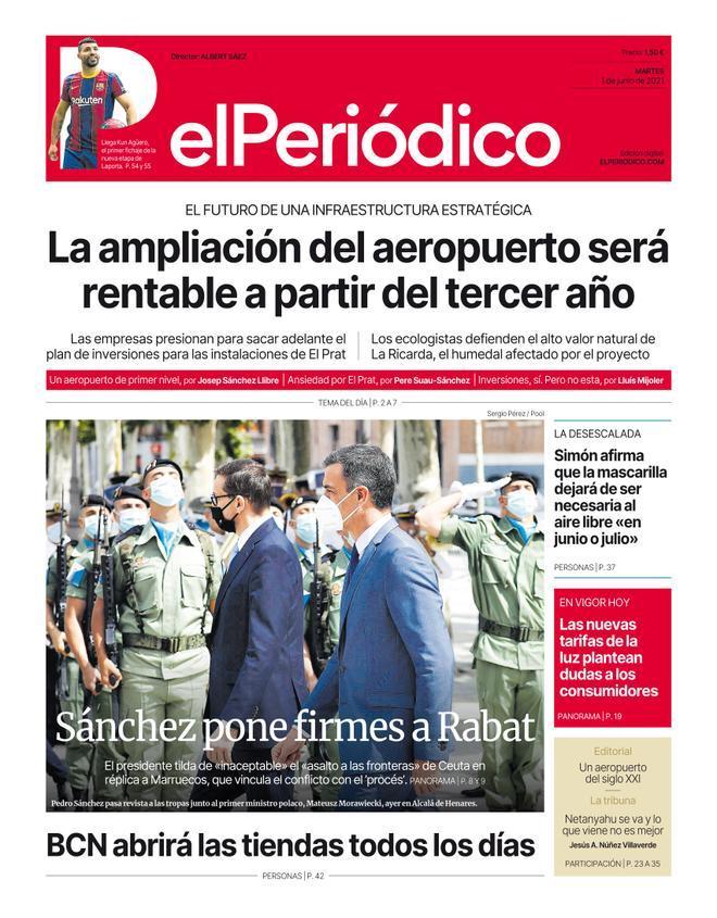 La portada d'EL PERIÓDICO de l'1 de juny del 2021