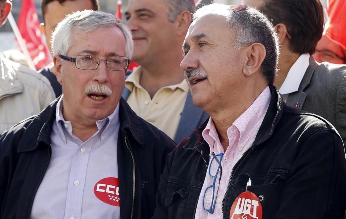Toxo y Álvarez, en la manifestación por el trabajo digno el pasado dia 7.