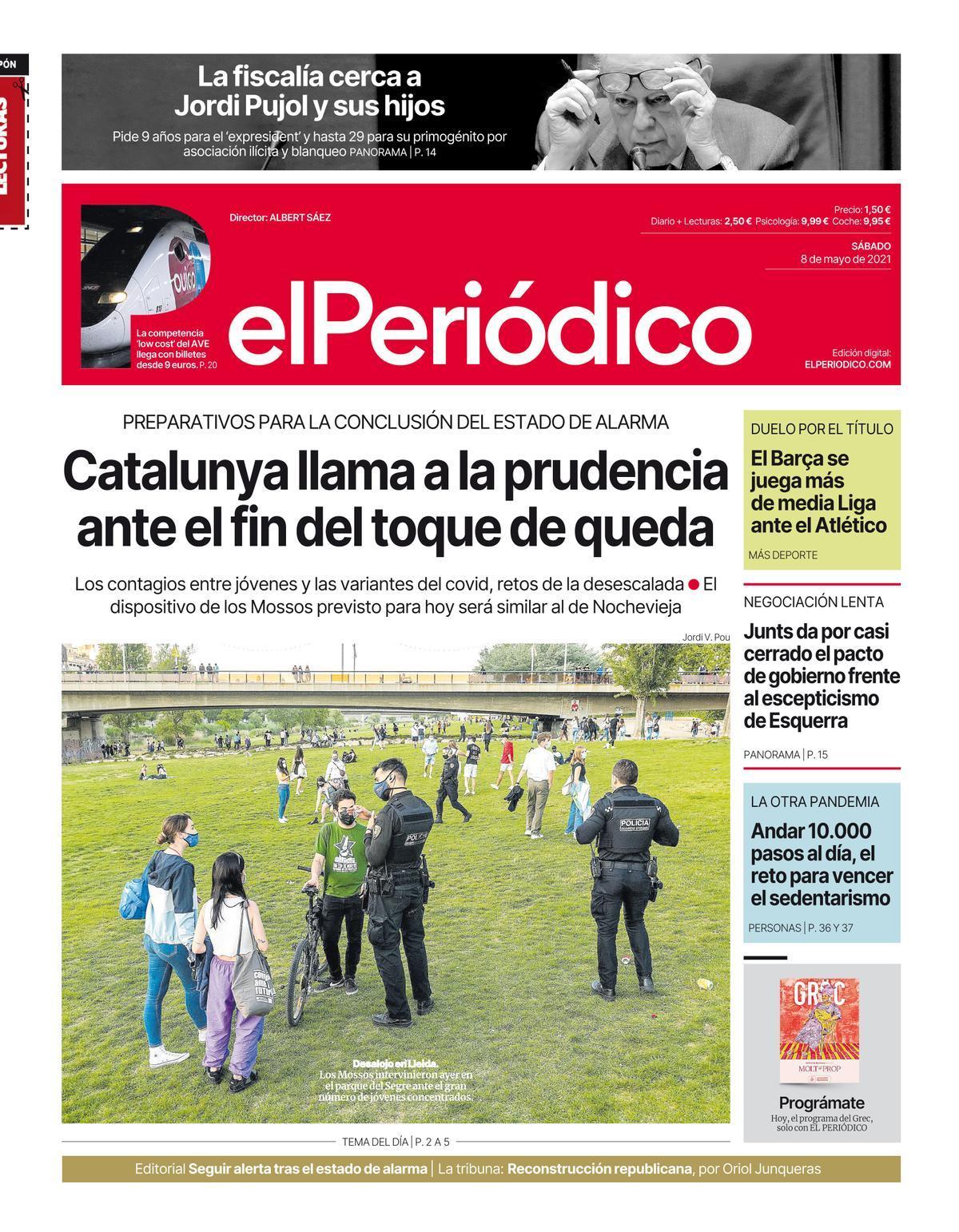 La portada de EL PERIÓDICO del 8 de mayo de 2021