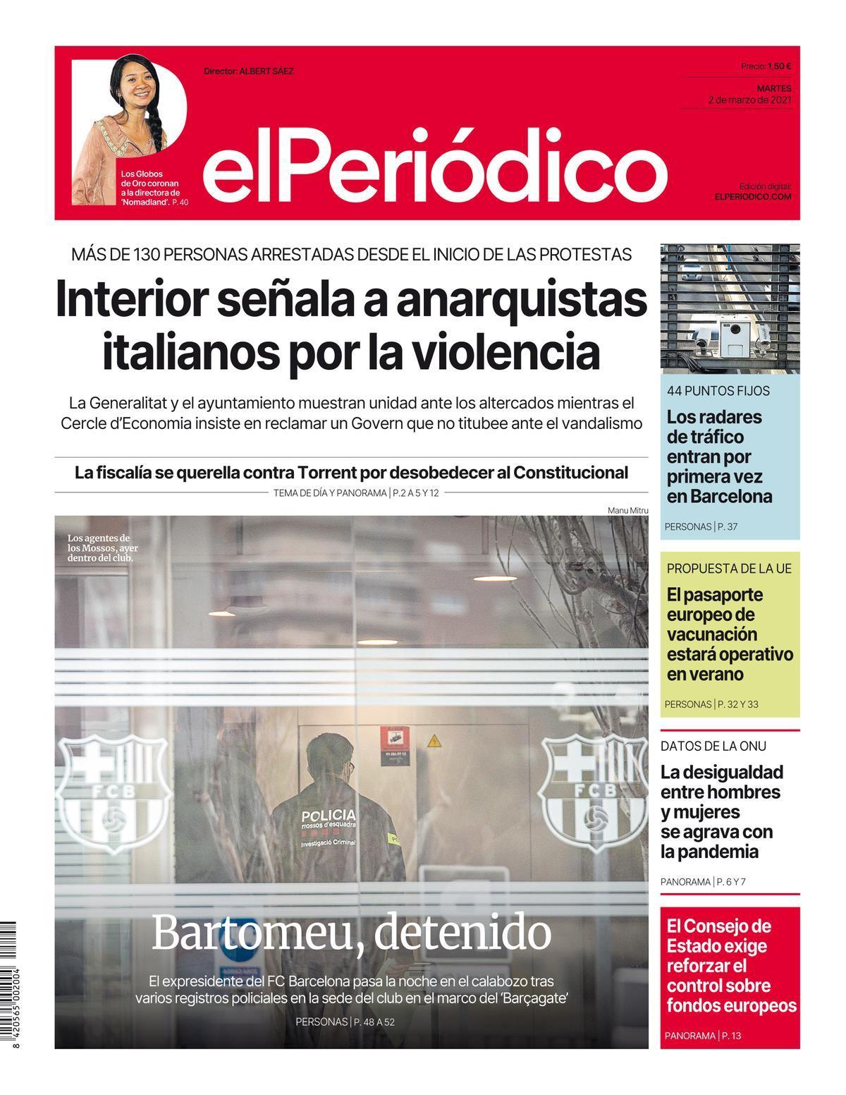 La portada de EL PERIÓDICO del 2 de marzo de 2021