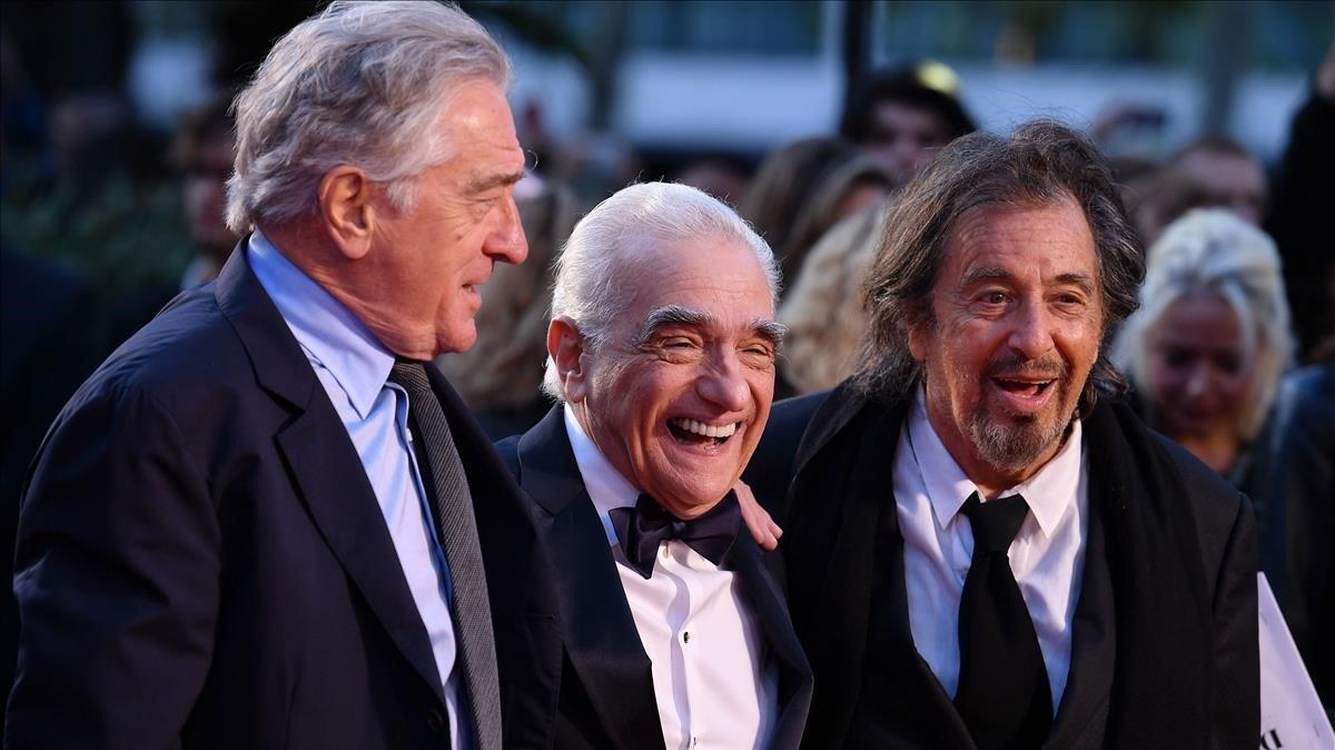 Robert de Niro, Martin Scorsese y Robert De Niro, en el estreno de 'El irlandés', el pasado octubre en Londres.