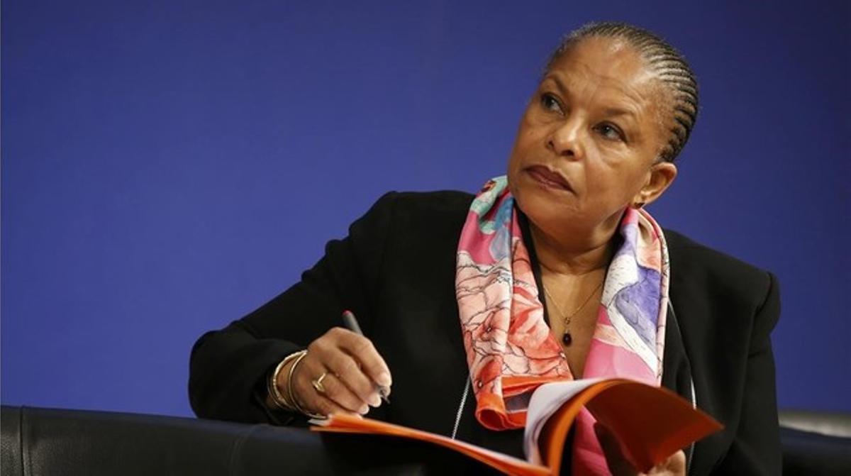 Christiane Taubira, durante una reunión en el Ministerio de Economía y Finanzas, en París, el 15 de diciembre.