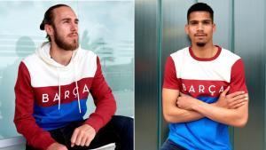 Los jugadores del primer equipo del Barça Óscar Mingueza y Ronald Araujo son los embajadores de la nueva colección 'Color Block' del club azulgrana.