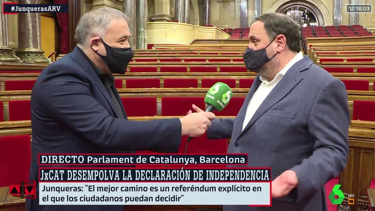 """Tensa entrevista de Ferreras a Junqueras: """"No estoy en absoluto de acuerdo con lo que dice"""""""
