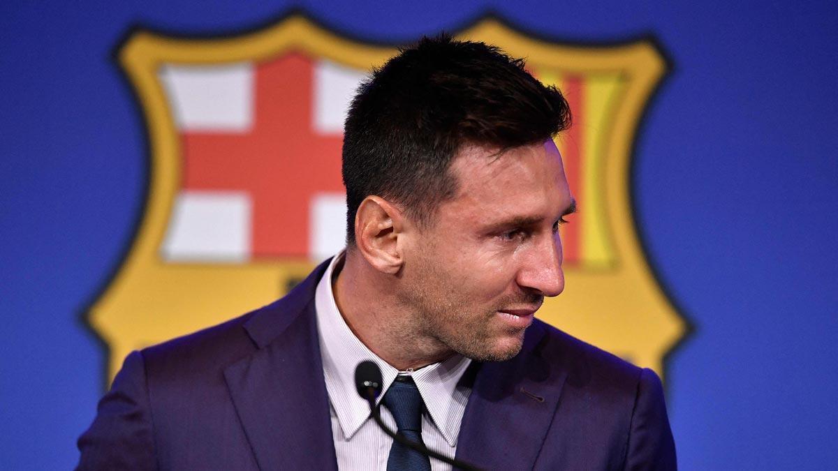 Messi se despide del Barça en rueda de prensa.