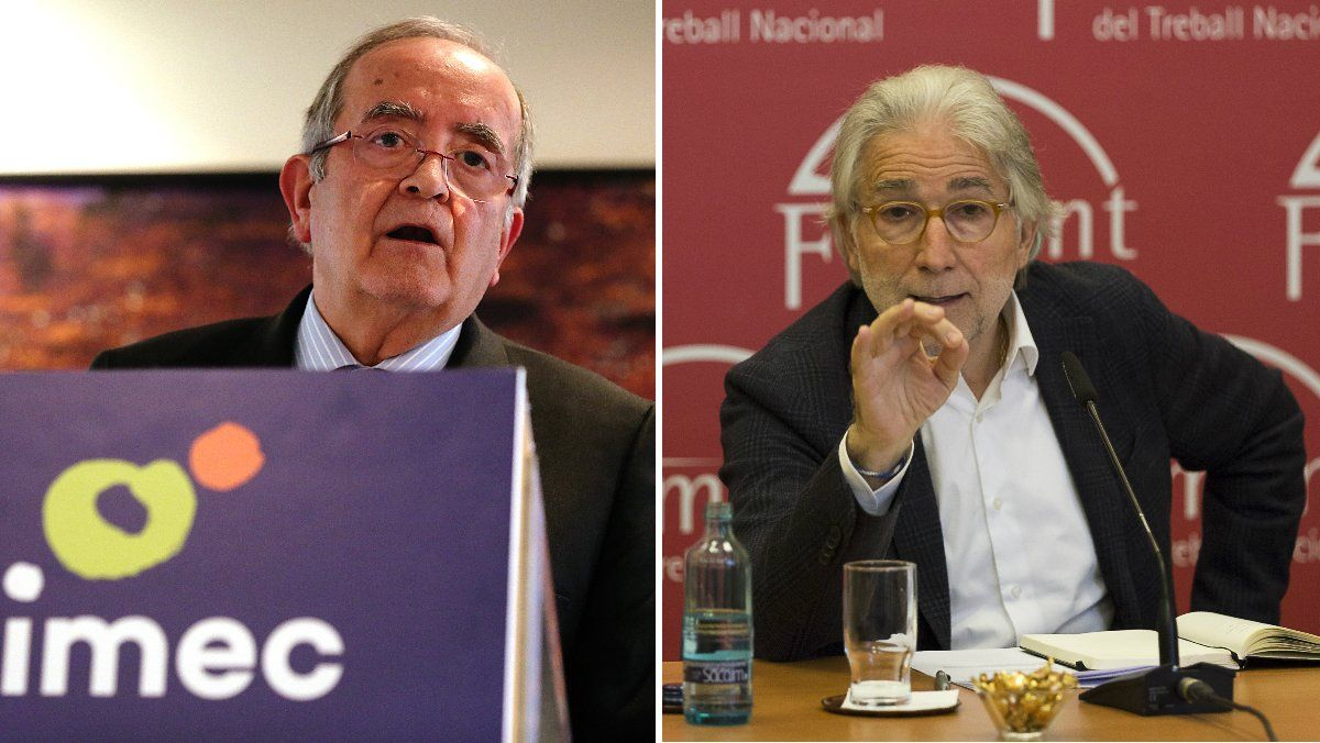 El presidente de Pimec, Josep González (i), y el presidente de Foment del Treball, Josep Sánchez Llibre (d).