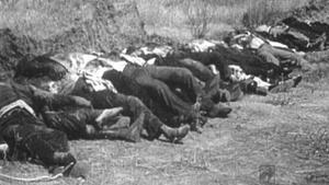 Fusilamientos en Badajoz, ejemplo de la represión franquista durante la guerra civil.
