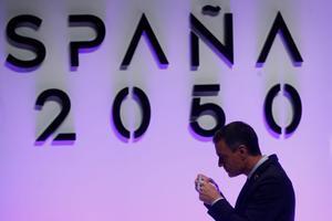 El presidente del Gobierno, Pedro Sánchez, durante la presentación del documento 'España 2020', en el Museo Nacional Centro de Arte Reina Sofía, este 20 de mayo en Madrid.