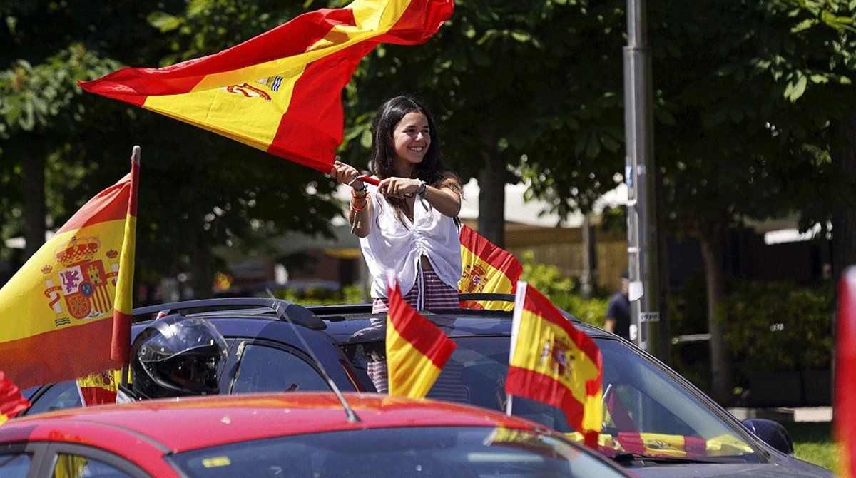 Un momento de la manifestación contra la gestión de la crisis del coronavirus por parte del Gobierno convocada por Vox en Madrid, el domingo23 de mayo.