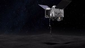 Ilustración de la nave OSIRIS-REx descendiendo al asteroide Bennu para tomar muestras