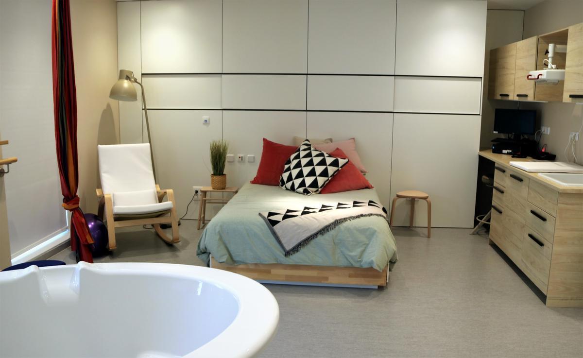 Imagen de la habitación del centro de nacimientos de Can Ruti.