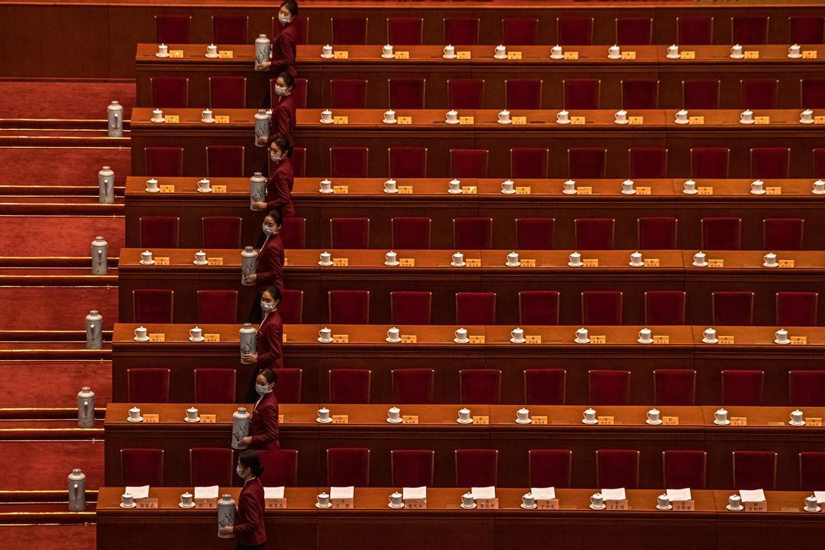 Preparativos a la reunión de este viernes de los 3.000 delegados de la Asamblea Nacional del Pueblo, en Pekín.