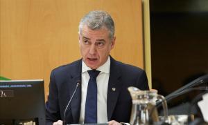 El lendakari Íñigo Urkullu, durante su comparecencia de este martes en el Parlamento Vasco para hablar de la gestión del derrumbe del vertedero de Zaldibar.