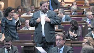 Artur Mas y Oriol Junqueras, el pasado miércoles, durante el pleno del Parlament.