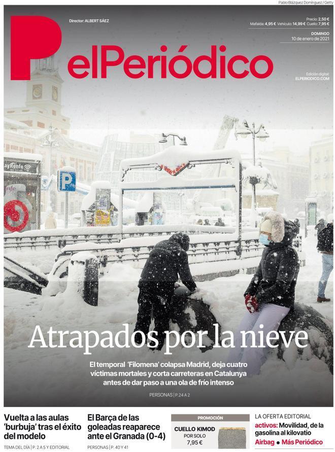 La portada de EL PERIÓDICO del 10 de enero de 2021