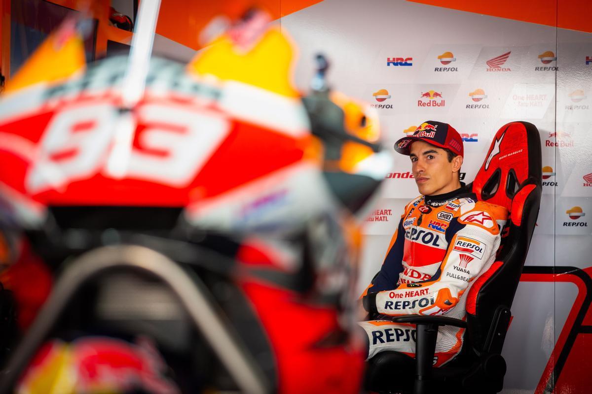 Marc Márquez, momentos antes de reaparecer hoy, en Portugal, con su Honda.